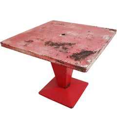 Red Metal 'Cube' Bistro Table by Xavier Pauchard, 1950