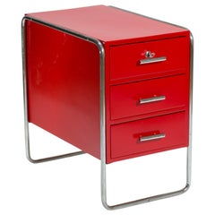 Red Midcentury Design Bauhaus Writing Desk Container by Marcel Breuer, 1930