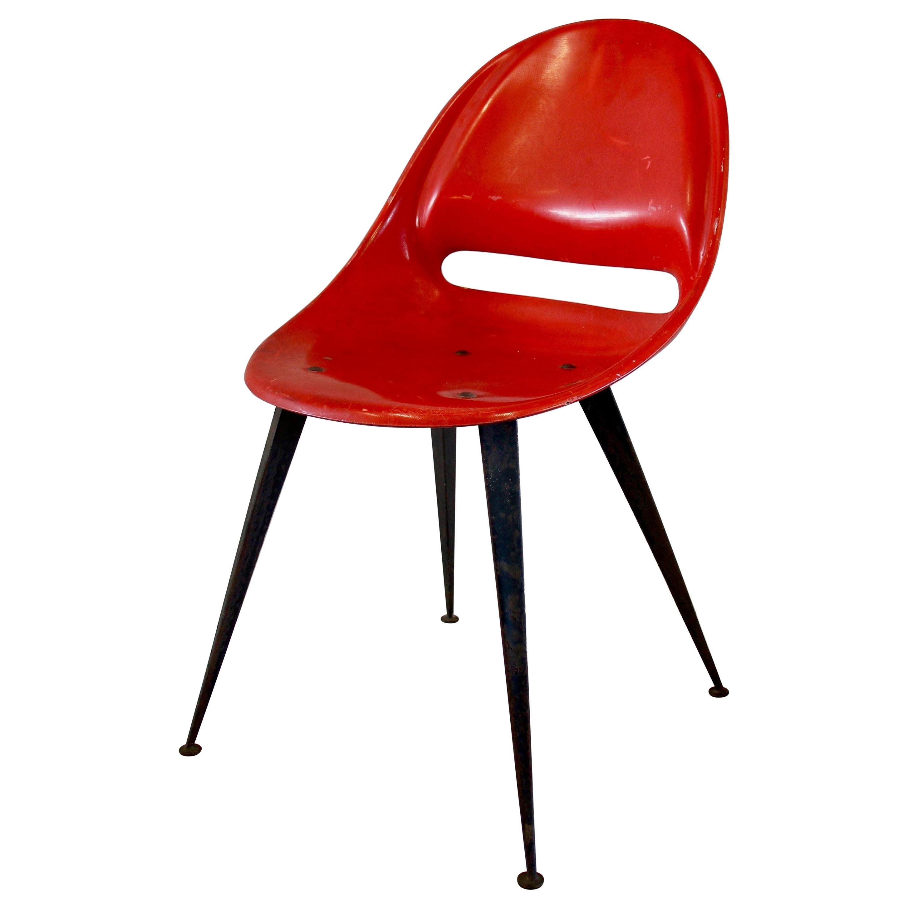 Red Midcentury Fiberglass Chair, Czech Republic