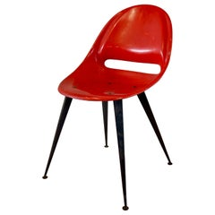 Red Midcentury Fiberglass Chair, Czech Republic
