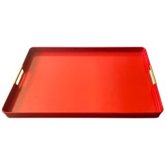 Red Midcentury Italian Tray with Brass Handles