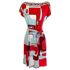 NINA red mixed print silk jersey shift dress size 6 NWT Flora Kung