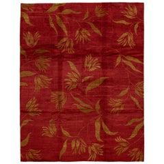 Red Modern Tibetan Handmade Wool Rug