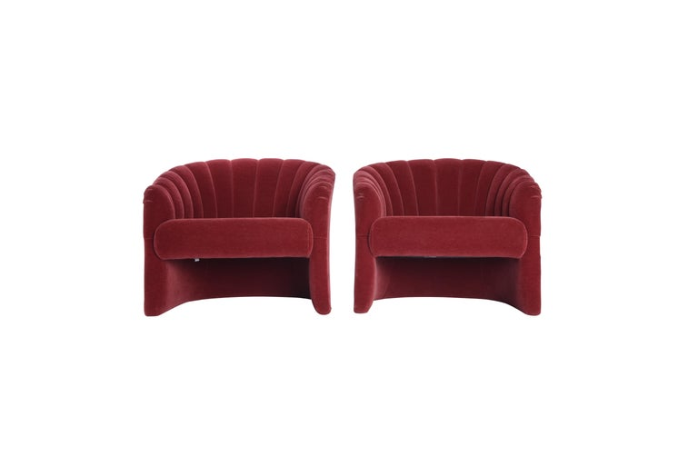 Mid-Century Modern Red Mohair Barrel Back Lounge Chairs, 1970 For Sale