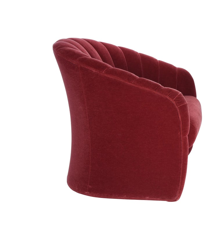 Red Mohair Barrel Back Lounge Chairs, 1970 In Excellent Condition For Sale In Chicago, IL