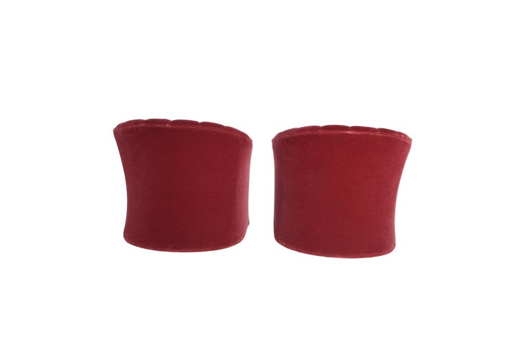 Late 20th Century Red Mohair Barrel Back Lounge Chairs, 1970 For Sale