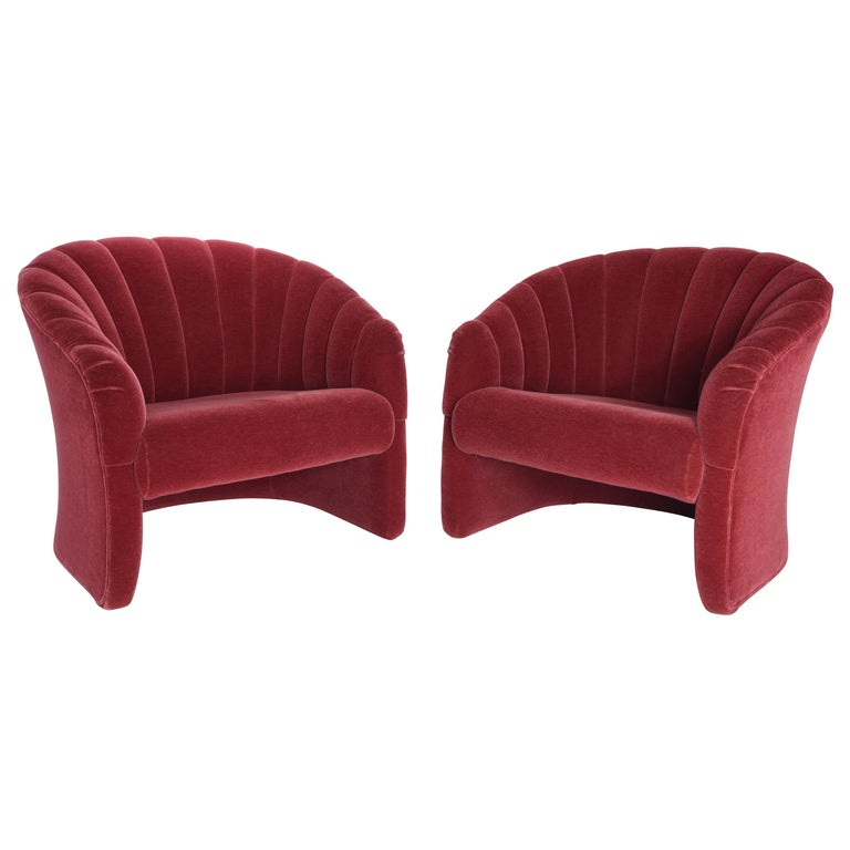 Red Mohair Barrel Back Lounge Chairs, 1970 For Sale