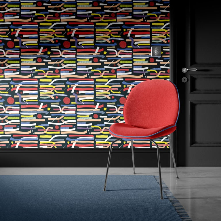 Contemporary Red Moon - custom mural wallpaper  (4 color proposals) For Sale