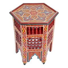 Red Moroccan Hand Painted Side Table
