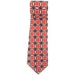 Red multicoloured silk tie