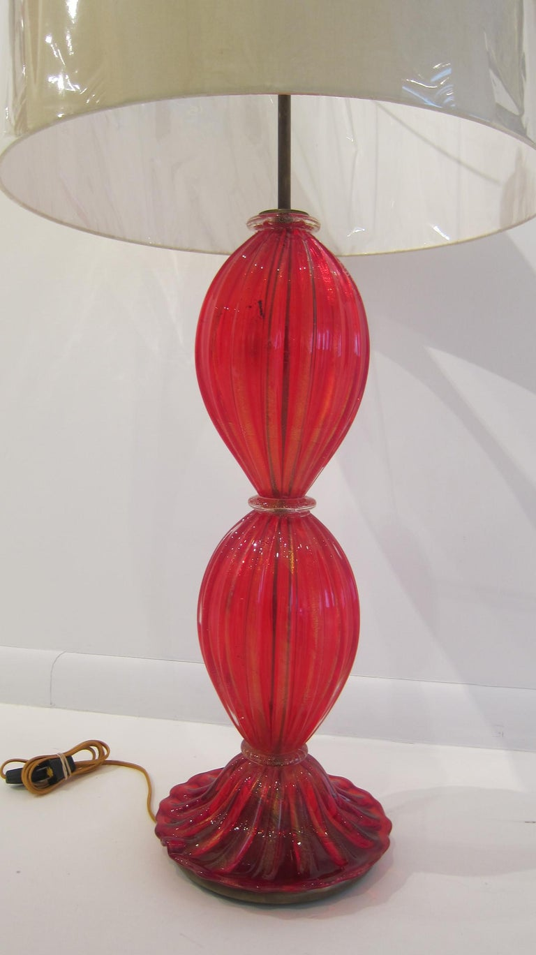 Vibrant red Murano glass table lamp by Barovier e Toso. Newly rewired, signed.