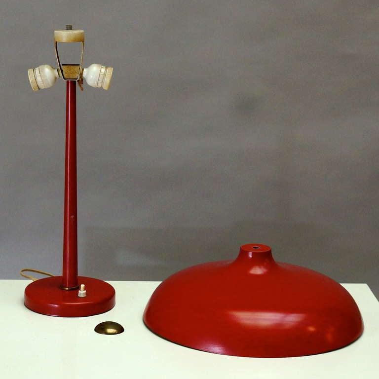 20th Century Red Mushroom Desk Lamp For Sale
