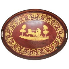 Red Napoleon III Tole Tray