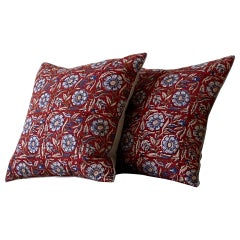 Red Natural and Blue Floral Indian Block Print Pillow Made from Antique Textiles