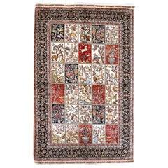 Red, Navy and Ivory Handmade Silk Distressed Anatolian Hereke Rug