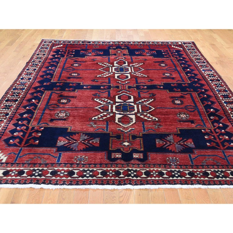 Tribal Red New persian Bakhtiari Pure wool Hand Knotted Oriental Rug For Sale