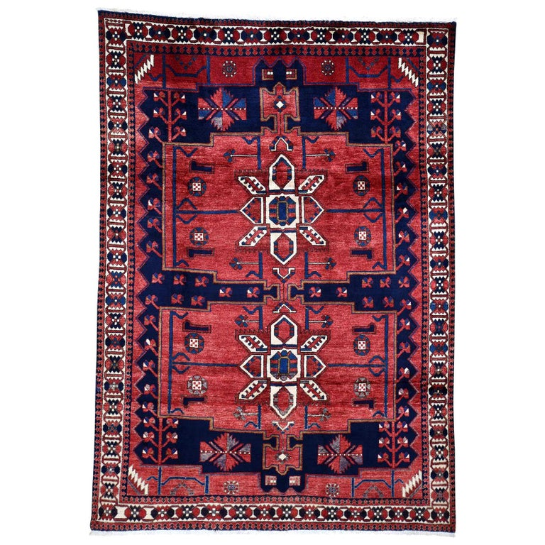 Red New persian Bakhtiari Pure wool Hand Knotted Oriental Rug For Sale