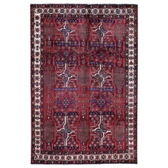 Red Persian Bakhtiari Willow Tree Design Pure Wool Hand Knotted Oriental Rug