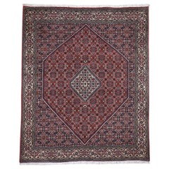 Red Persian Bijar 300 KPSI Squarish Pure Wool Hand Knotted Oriental Rug