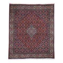 Red New Persian Bijar 300 KPSI Squarish Pure Wool Hand Knotted Rug