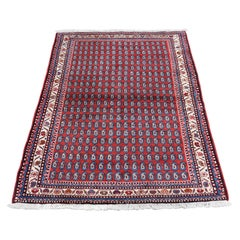 Red Persian Hamadan Boteh Design Pure Wool Hand-Knotted Oriental Rug