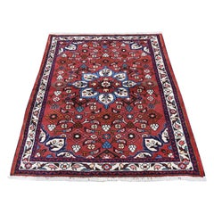 Red Persian Hamadan Pure Wool Hand Knotted Oriental Rug