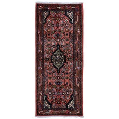 Red Persian Hamadan Pure Wool Hand Knotted Short Runner Tribal Oriental Rug,