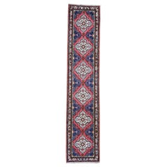 Red Persian Hamadan Pure Wool Narrow Runner Hand Knotted Oriental Rug