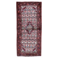 Red Persian Hamadan Pure Wool Runner Hand Knotted Oriental Rug
