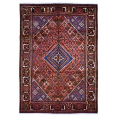 """Red Persian Josheghan Full Pile Pure Wool Hand Knotted Oriental Rug, 7'0"""""""