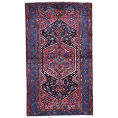 Red Persian Mosel Pure Wool Hand Knotted Oriental Rug