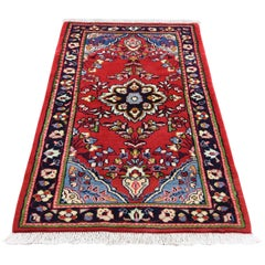 Red Persian Qazvin Pure Wool Tribal Hand Knotted Oriental Rug