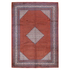 Red Persian Sarouk Mir With Diamond Shape Medallion Pure Wool Hand Knotted