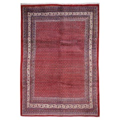 Red Persian Sarouk Mir With Repetitive Design Pure Wool Oriental Rug, 7'3""