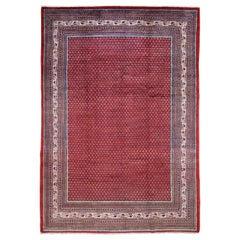 Red Persian Sarouk Mir With Repetitive Design Pure Wool Oriental Rug