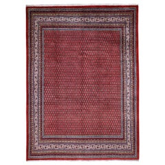Red Persian Sarouk Mir With Repetitive Design Pure Wool Oriental Rug, 7'10""