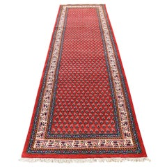 Red Persian Seraband Runner Pure Wool Hand Knotted Oriental Rug