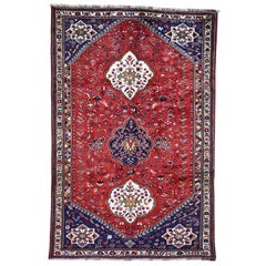 Red New Persian Shiraz Pure Wool Hand Knotted Oriental Rug