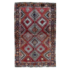 "Red Persian Shiraz Pure Wool Hand Knotted Oriental Rug, 5'0"" x 8'8"""