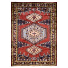 """Red Persian Viss Pure Wool Hand Knotted Oriental Rug, 7'2"""" x 10'3"""""""