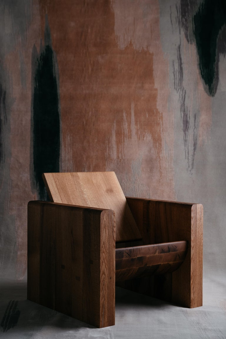 Red Oak Armchair by Odami In New Condition For Sale In Geneve, CH