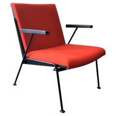 Red 'Oase' Lounge Chair with Armrests by Wim Rietveld for Ahrend, 3 Available