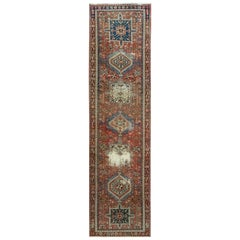 Red Old and Worn Down Karajeh Hand Knotted Runner Oriental Rug