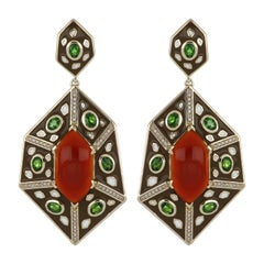 Red Onyx and Chrome Diopside Studded Color Enamel Earrings in 14 Karat Gold