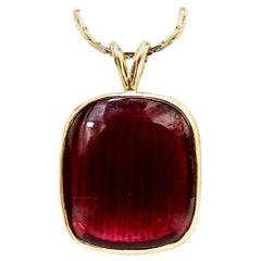 Red Onyx Pendant Necklace 14 Karat
