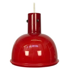 Red Opaque Milk Glass Pendant Lamp by Glashutte Limburg for Lightolier