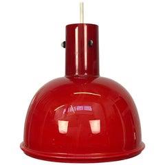 Glass Pendant Lamp in Red Opaque Milkglass by Glashutte Limburg for Lightolier