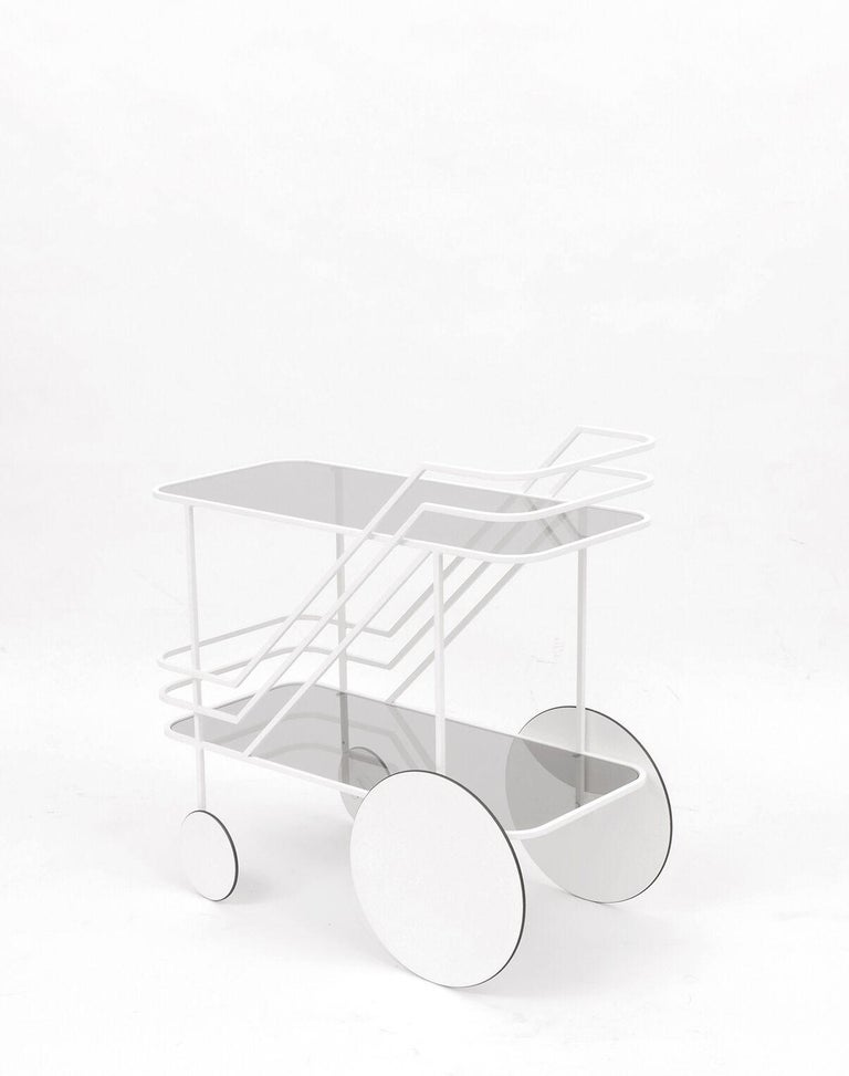 Modern Red or White European Powder Coated Metal Drinks Cart with Smoke Glass Shelves For Sale