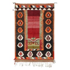 Red, Orange and Brown Wool Turkish Kilim with a Tribal Print Style