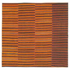 Red-Orange & Purple Mid-20th Century Turkish Square Room Size Flat-Weave Kilim